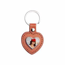Brelok skórzano-metalowy - serce - brązowy z nadrukiem