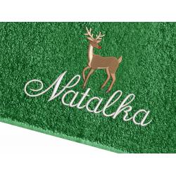 Świąteczny ręcznik Jelen z IMIENIEM - 70x140 HAFT
